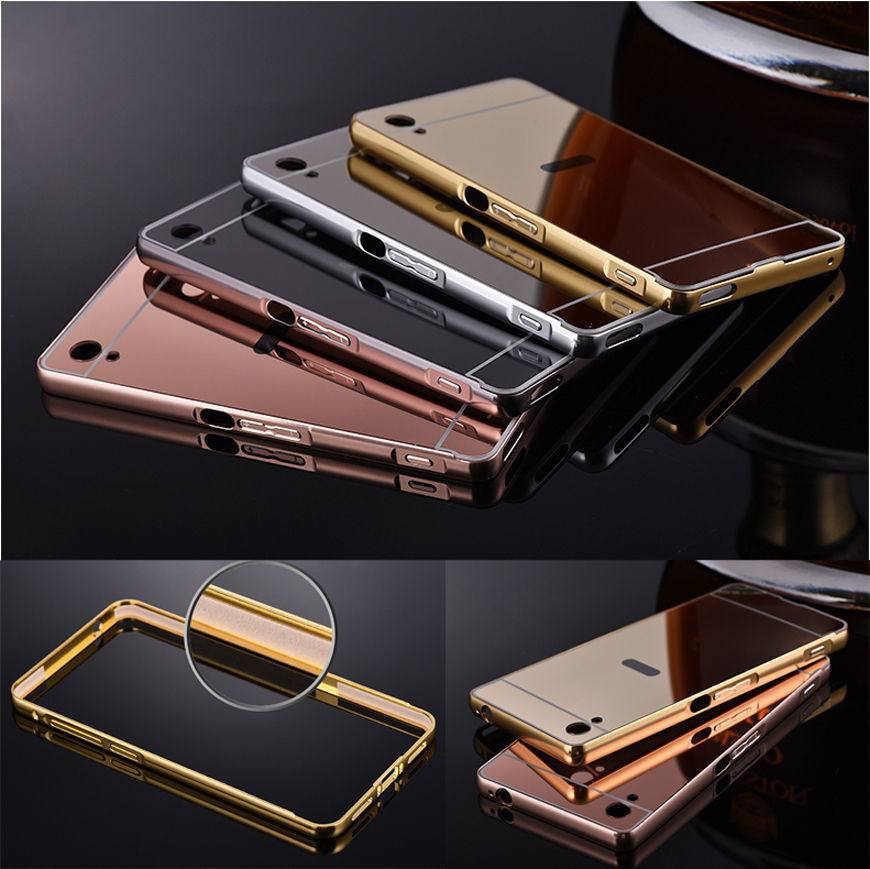 newest f41db 22cb3 Luxury Mirror Back Cover + Metal Aluminum Frame Case For Sony Xperia ...
