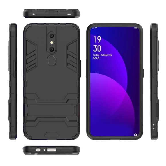 Oppo F11 Pro Cover Shockproof Hybrid Kickstand Back Case - Black