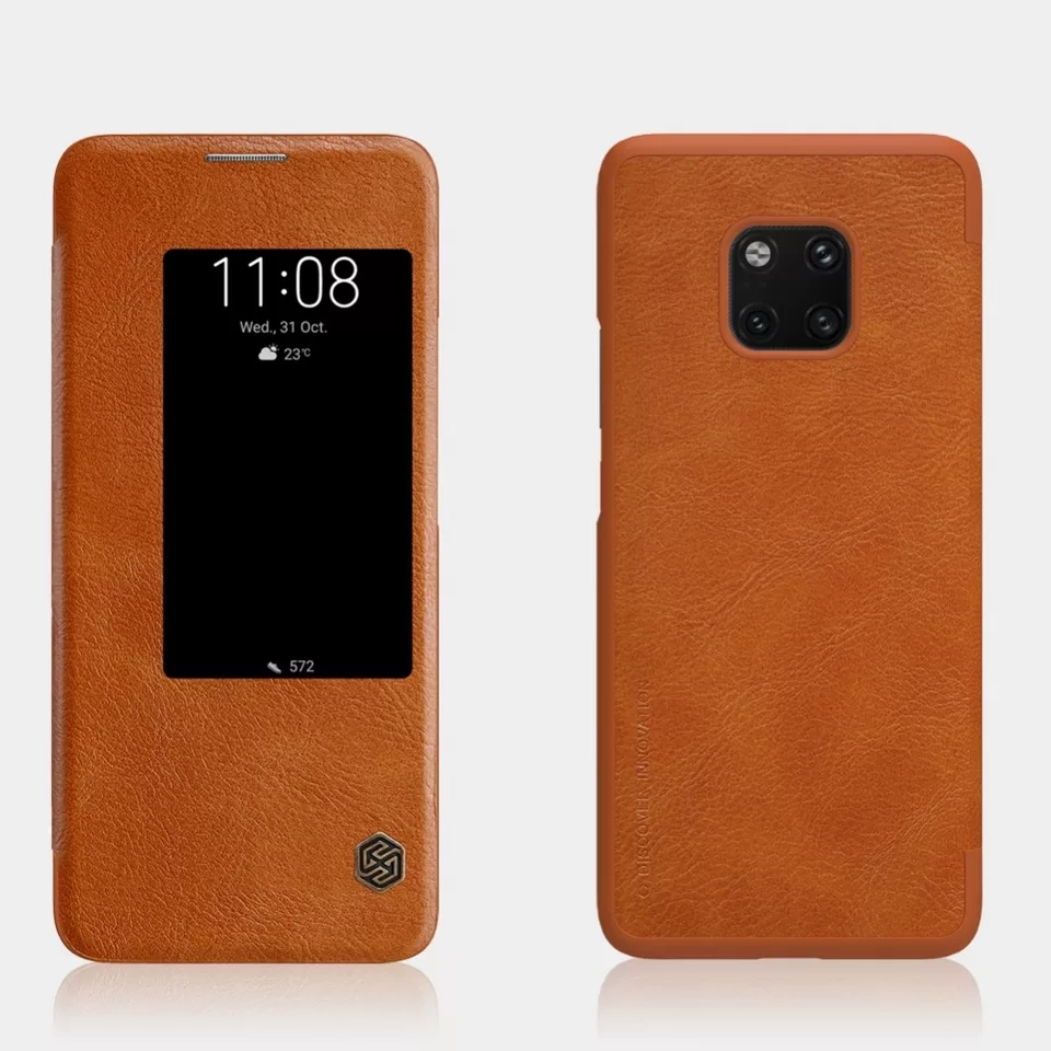 Huawei Mate 20 Pro Nillkin QIN Leather Smart Flip Cover - Brown