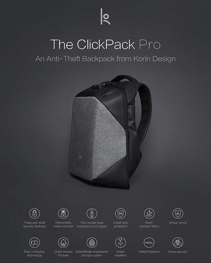 ClickPack Pro Best Functional Anti-theft BackPack - Laptop Bag